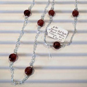 Jewelry - Red Agate Bead Station necklace
